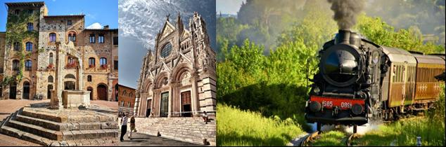 San Gimignano, Siena e Treno a Vapore